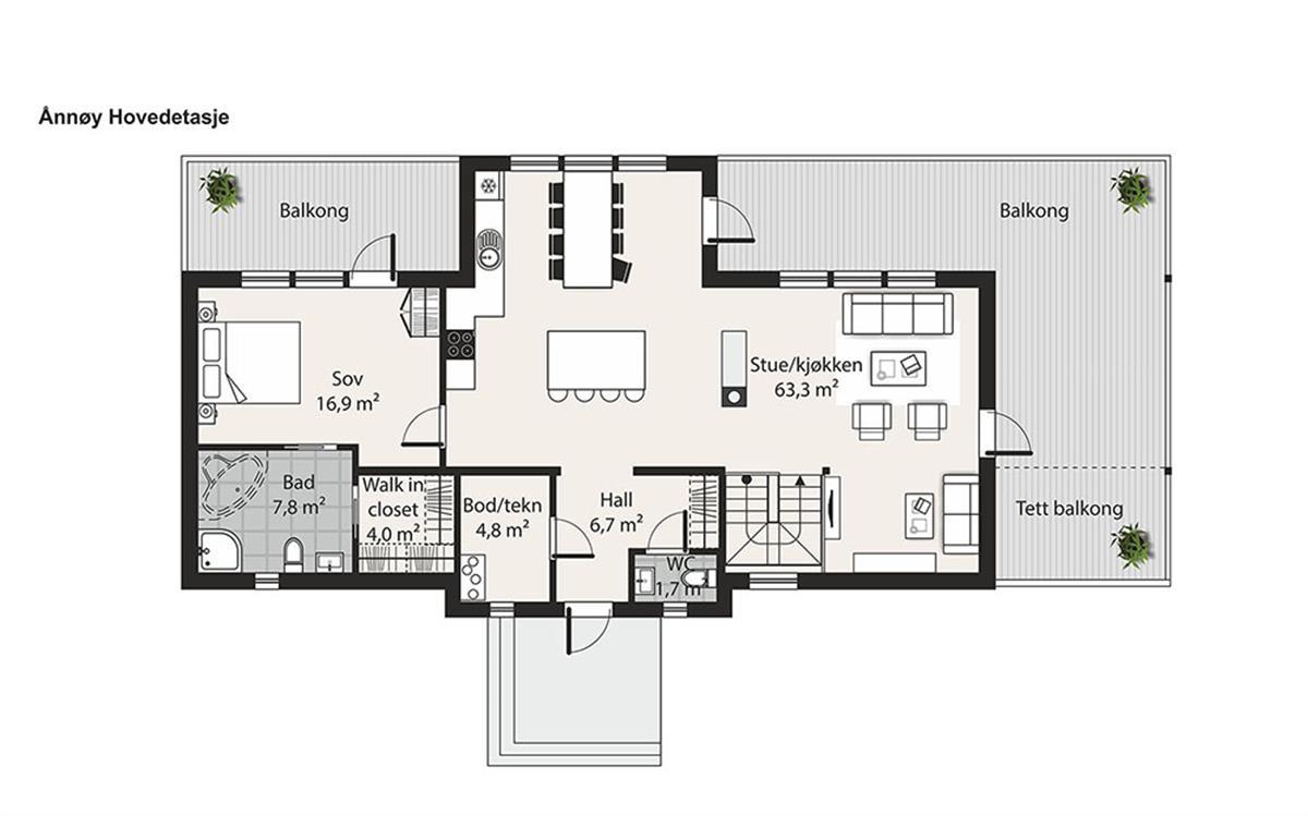 Hus 1 Norge Moderne Ånnøy etasje 1