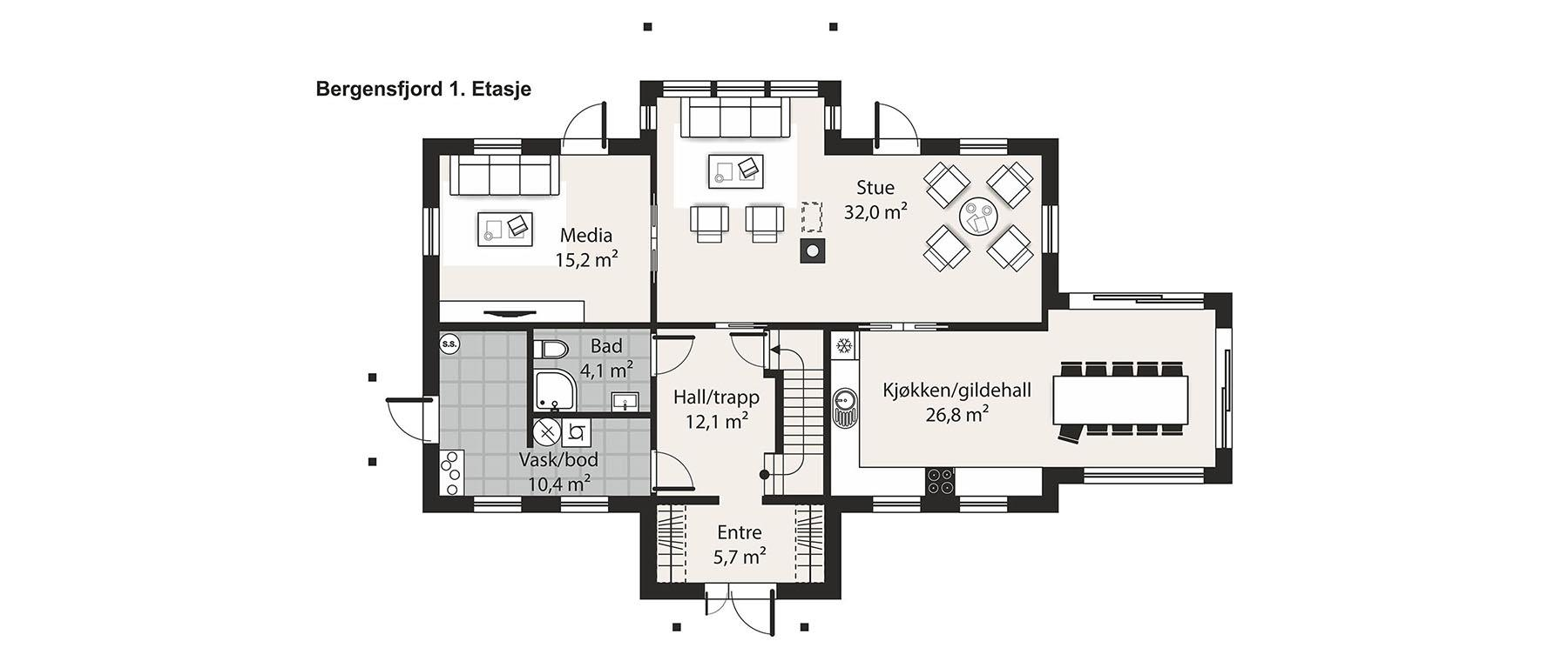 Hus 1 Norge Herregårds - serien Bergensfjord etasje 1