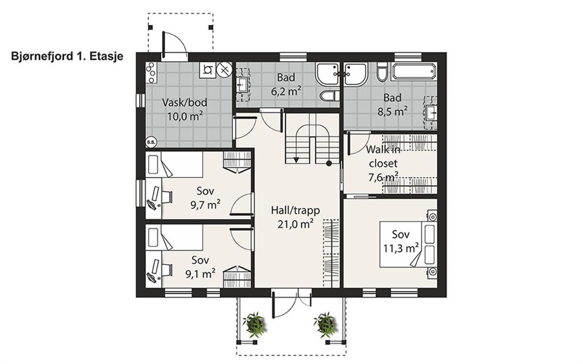 Bjørnefjord husplan etasje 1