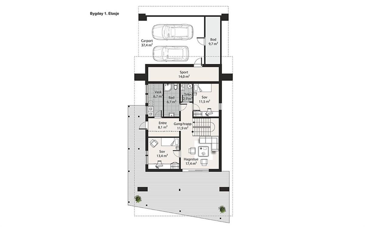 Bygdøy husplan etasje 1