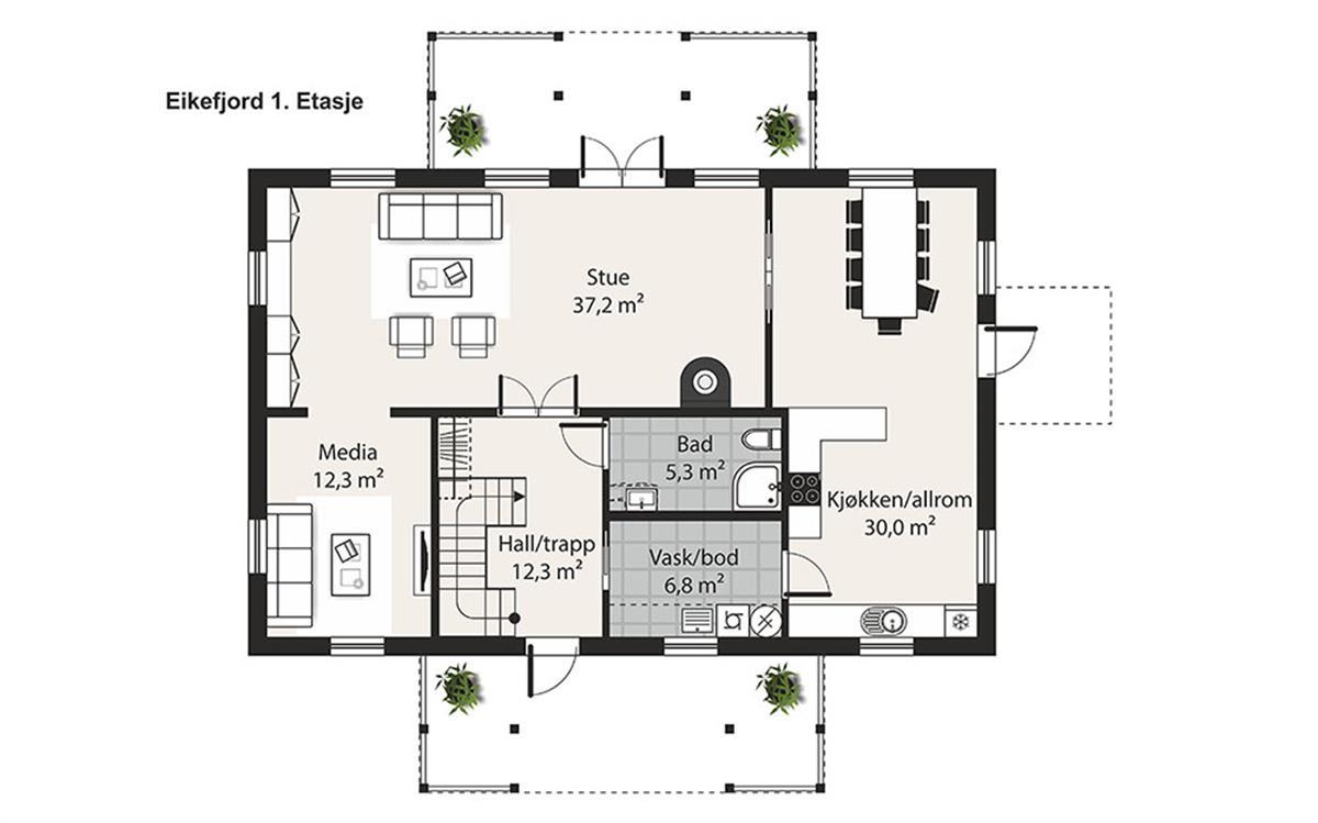 Eikefjord husplan etasje 1