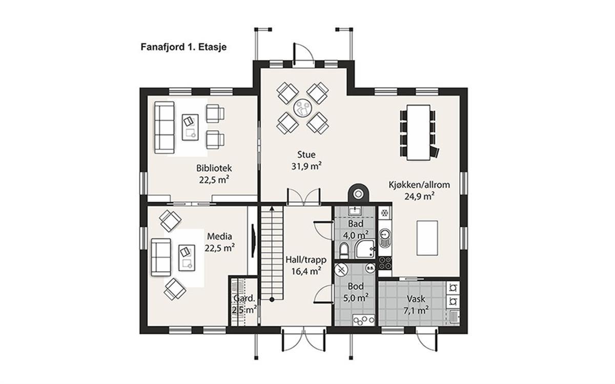 Hus 1 Norge Herregårds - serien Fanafjord etasje 1