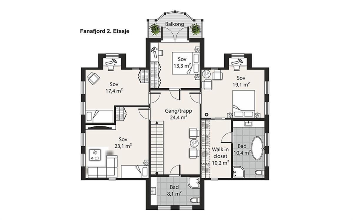 Hus 1 Norge Herregårds - serien Fanafjord etasje 2