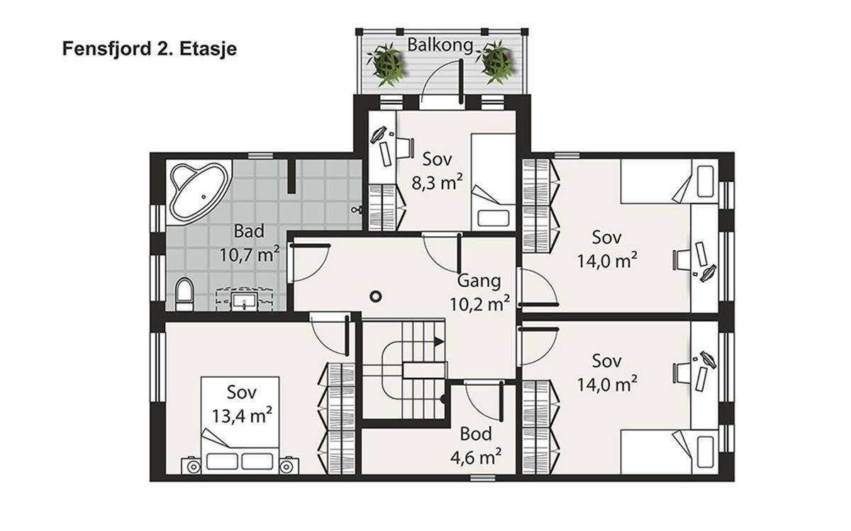 Hus 1 Norge Herregårds - serien Fensfjord 2. etasje