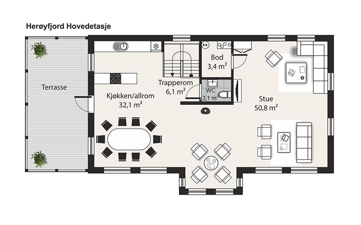 Herøyfjord husplan hovedetasje