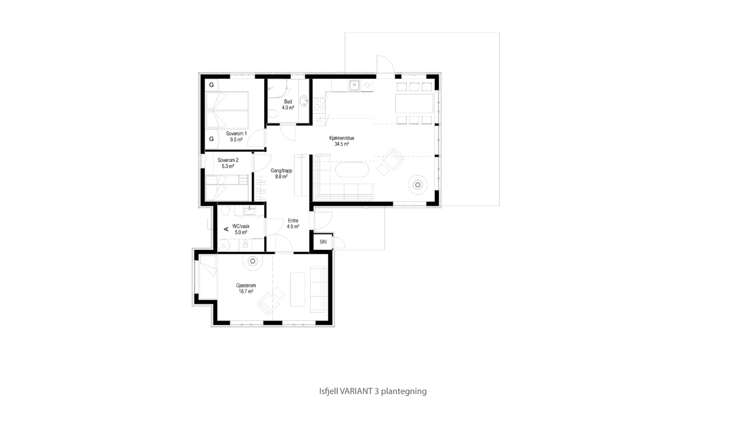 Hytte plantegning Isfjell VARIANT 3