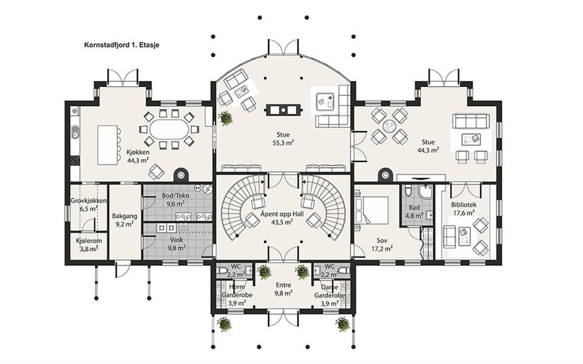 Kornstadfjord husplan etasje 1