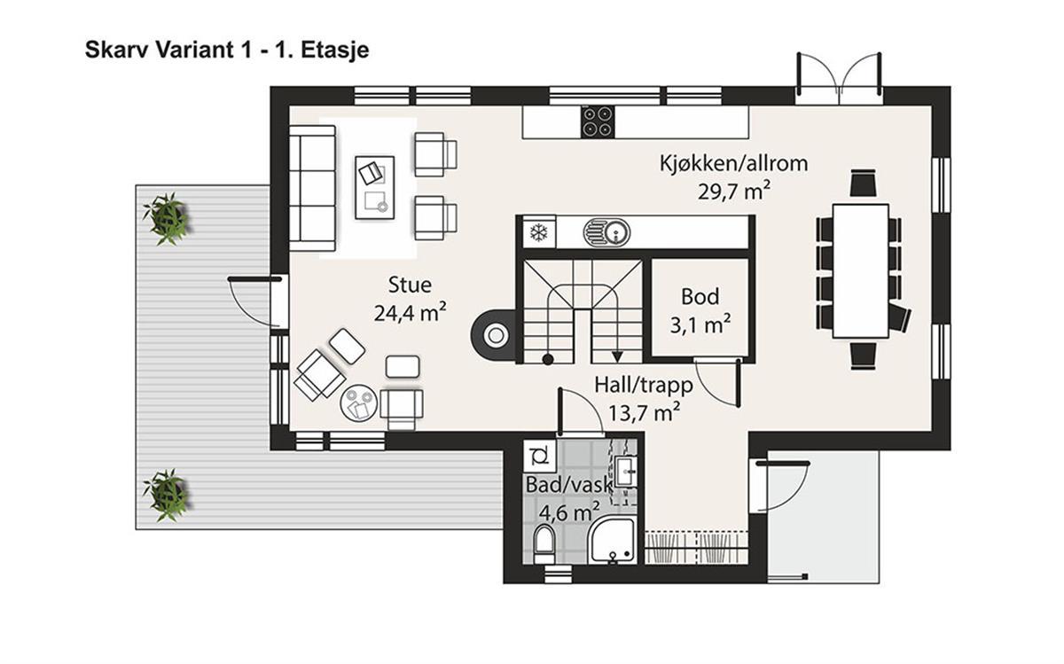 Skarv V-1 husplan etasje 1