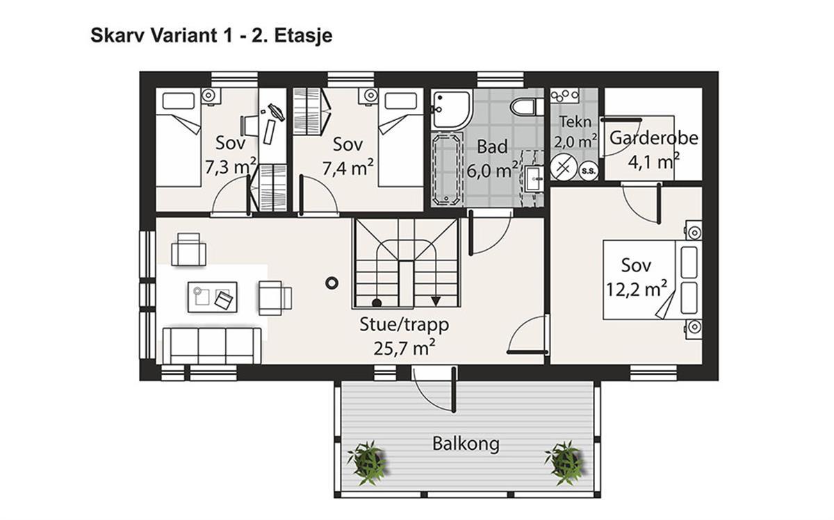 Skarv V-1 husplan etasje 2