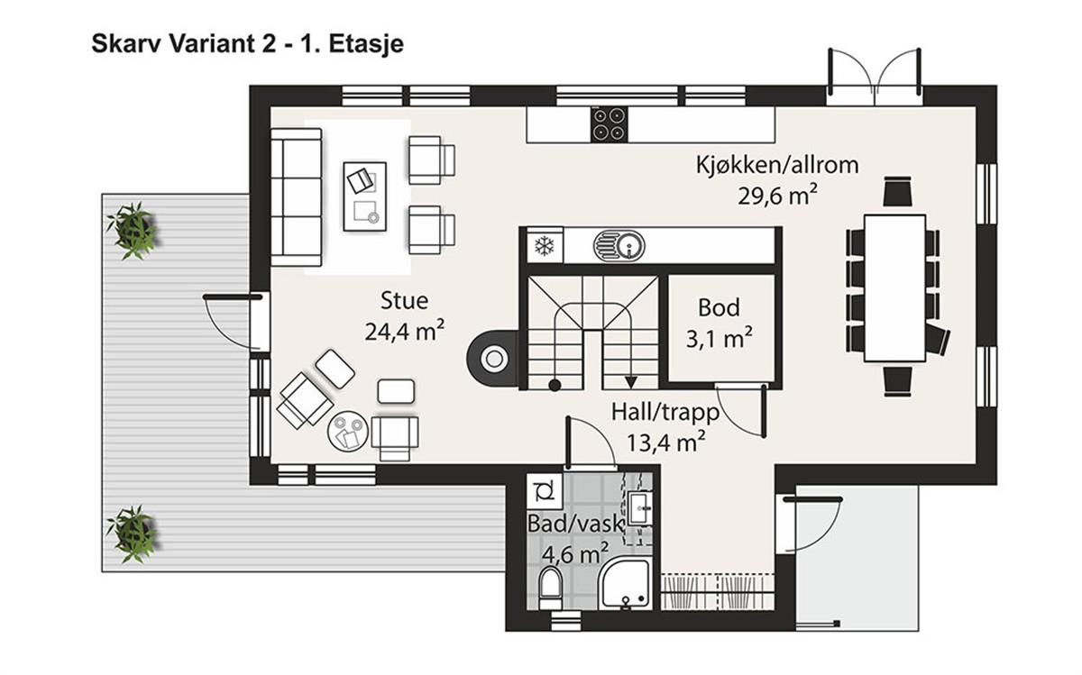 Skarv V-2 husplan etasje 1