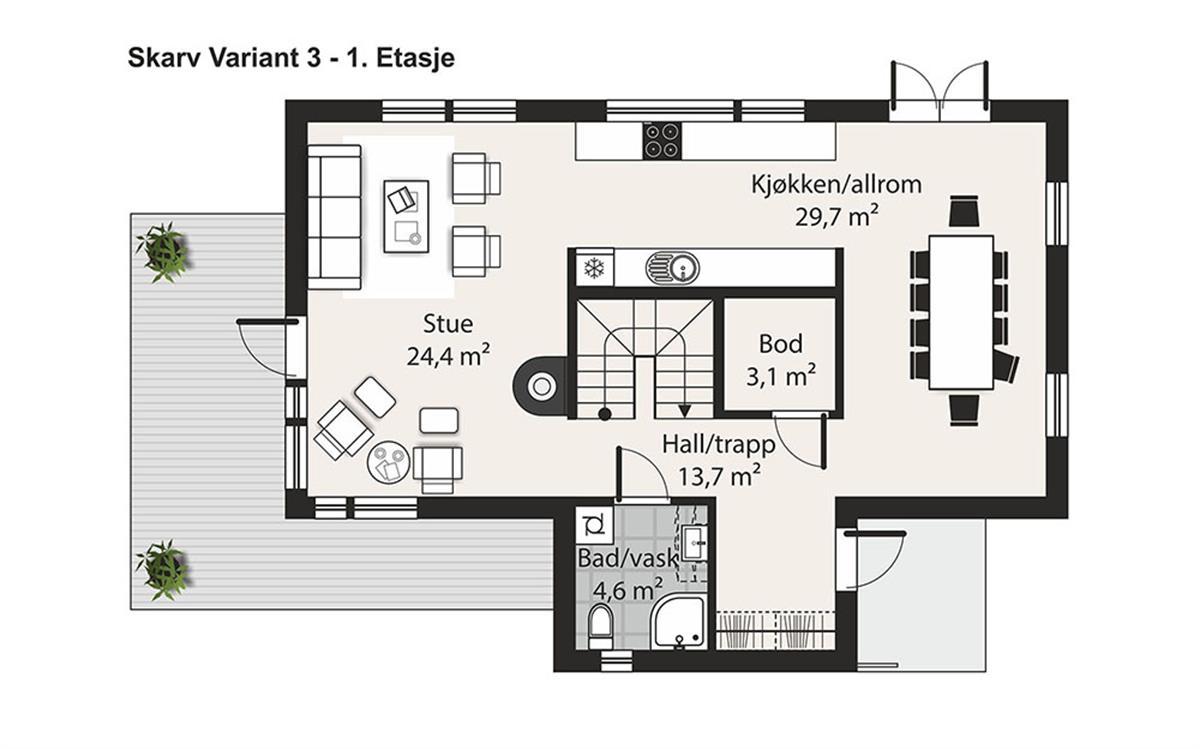 Skarv V-3 husplan etasje 1