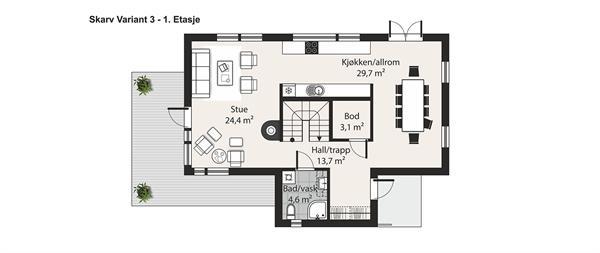 Skarv V-3 plantegning etasje 1