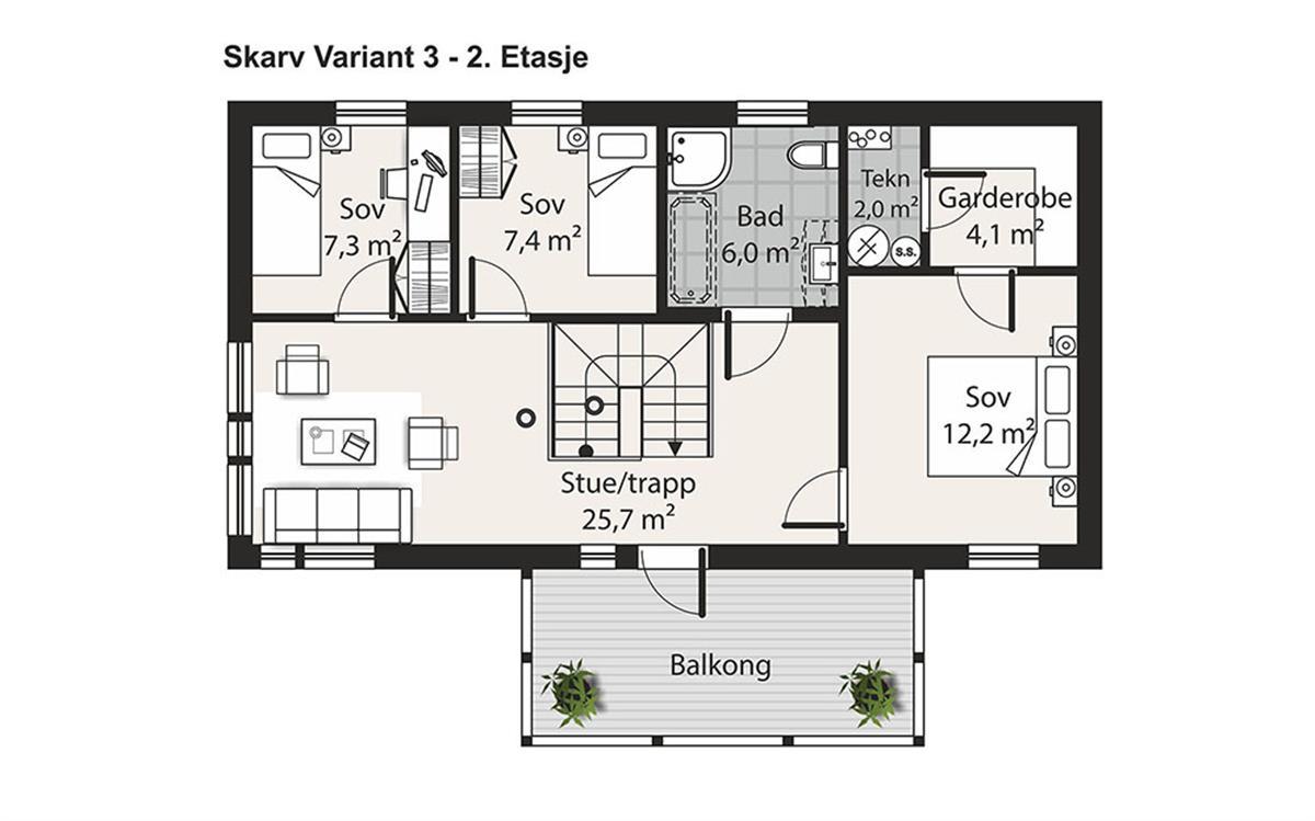 Skarv V-3 husplan etasje 2