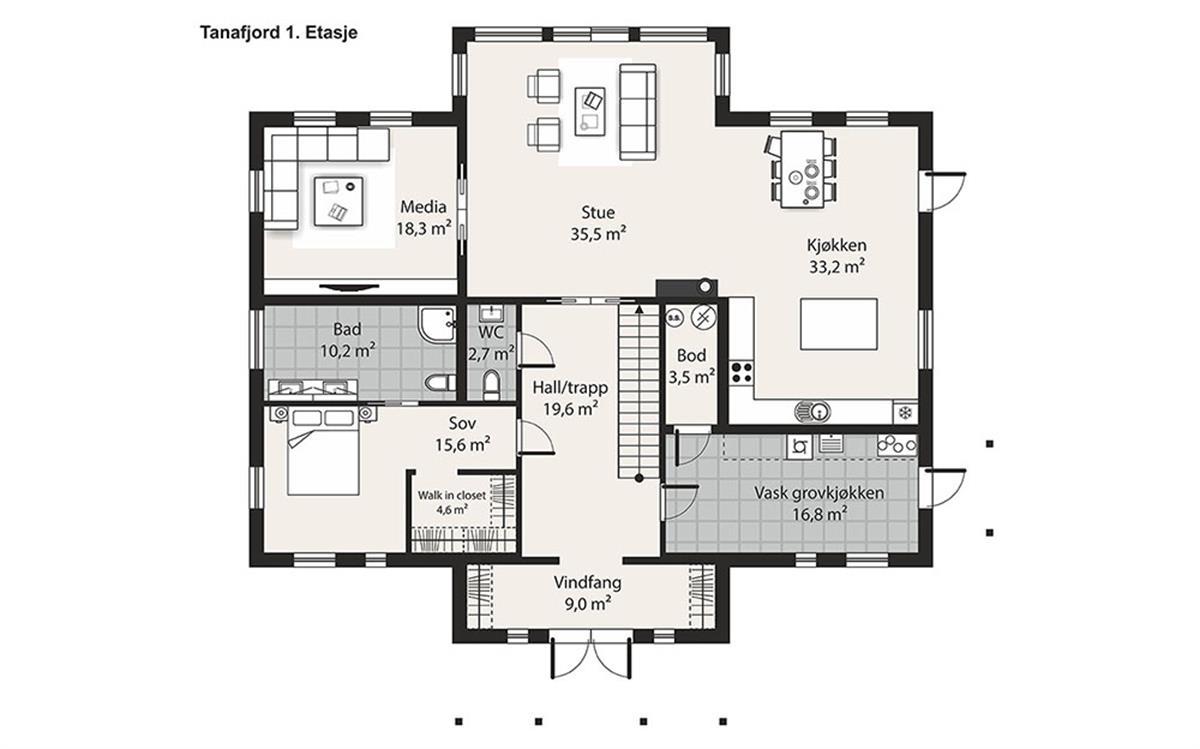 Hus 1 Norge Herregårds - serien Tanafjord etasje 1