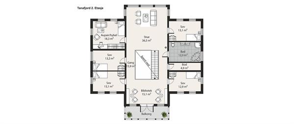 Hus 1 Norge Herregårds - serien Tanafjord etasje 2