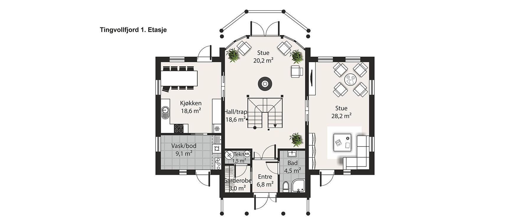 Hus 1 Norge Herregårds - serien Tingvollfjord 1. etasje