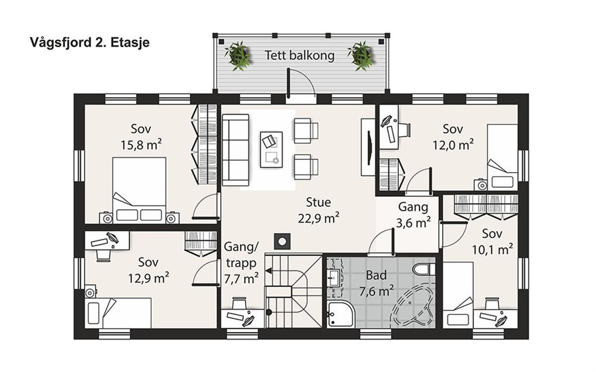 Hus 1 Norge Herregårds - serien Vågsfjord etasje 2