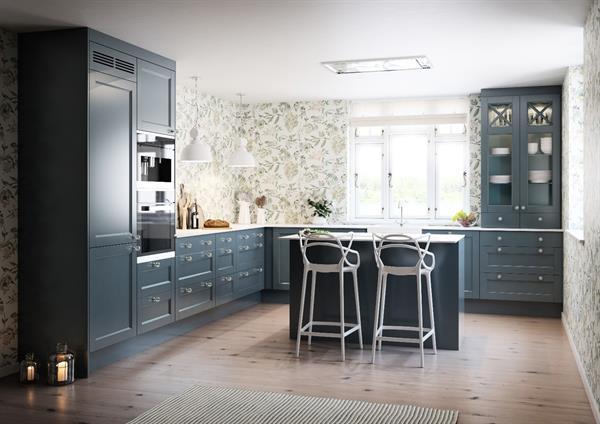 Grå blå kjøkken